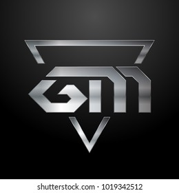 GM Logo, Metal Logo, Silver Logo, Monogram, Polygon