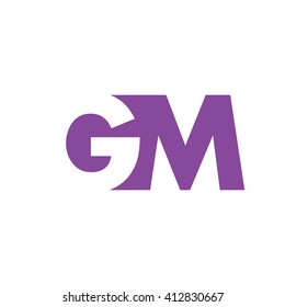 GM Logo. Vector Graphic Branding Letter Element. White Background