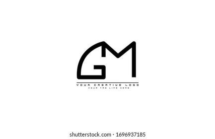 GM MG abstract vector logo monogram template