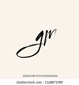 GM monogram logo.Signature style lettering icon.Brush stroke letter g and letter m isolated on light background.