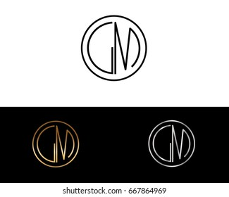 GM round circle shape initial letter logo