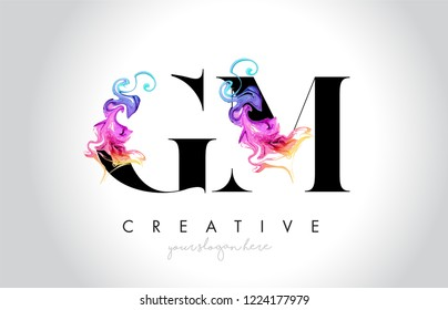 GM Vibrant Creative Leter Logo Design with Colorful Smoke Ink Flowing Vector Illustration.