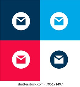 Gmail four color material and minimal icon logo set in red and blue