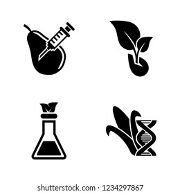 GMO, Dna Food Modification. Simple Related Vector Icons Set for Video, Mobile Apps, Web Sites, Print Projects and Your Design. GMO, Dna Modification icon Black Flat Illustration on White Background.