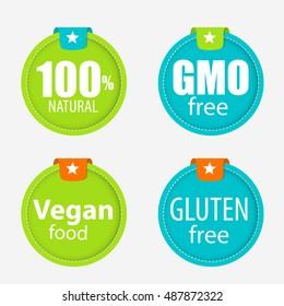 Gmo Free, 100% Natutal, Vegan Food and Gluten Free Label Set Vector Illustration EPS10
