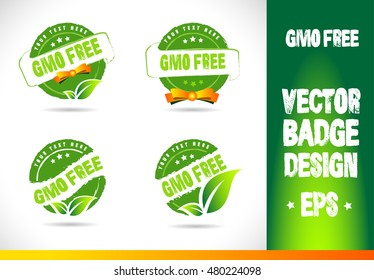 Gmo free Badge Logobadge label seal stamp logo text design green leaf template vector eps