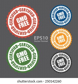 gmo free certified icon, tag, label, badge, sign, sticker, vector format