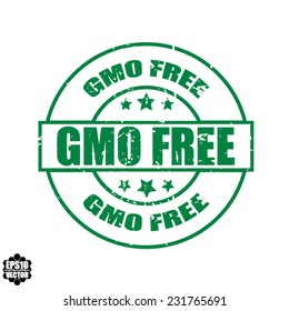 Gmo free grunge rubber stamp with stars on white background, vector illustration