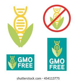 GMO free icon symbol design. Non Genetically Modified Organism sign with cob corn vector illustration.