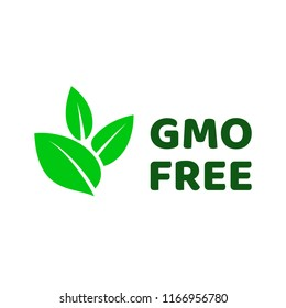GMO free icon. Vector green leaves non GMO logo sign for healthy food package design.