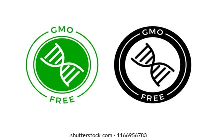 GMO free icon. Vector green non GMO logo sign for healthy food package design.