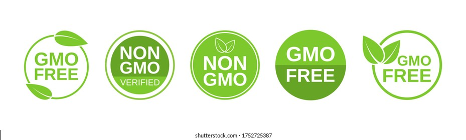 GMO free icons. Non GMO label set. Healthy organic food concept. No GMO design elements for tags, product packag, food symbol, emblems, stickers. Vegan, bio. Vector illustration.