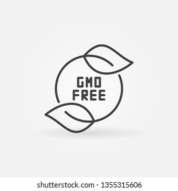 GMO Free with leaves vector minimal icon or design element in thin line style