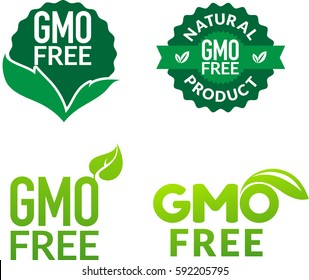 Gmo Free Non Gmo food labels for products packaging. White text vector illustration