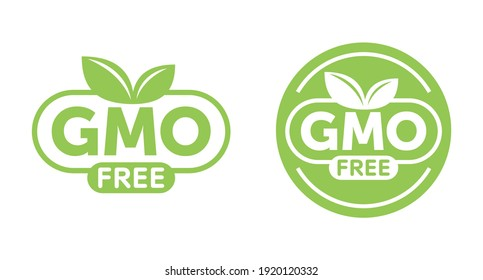 GMO free round green label with leaf and text, for genetically unmodified products packaging