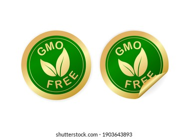 Gmo free sticker for packaging design. Retro packaging. Vector icon. Grunge background.