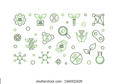 GMO free vector creative concept horizontal illustration in thin line style