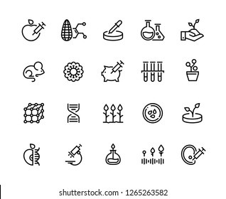 GMO line icons. DNA food research, lab agriculture testing, bacteriology science experiment. Genetic engineering vector symbols