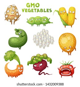 GMO Monster Vegetable Illustrations Set. Cartoon Vector Funny Character Icon Isolated on White Background