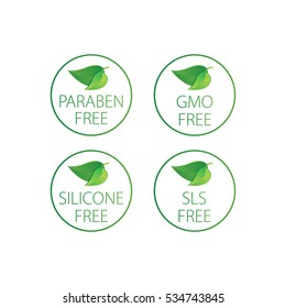 GMO, paraben, SLS, Silicone free - vector illustration.