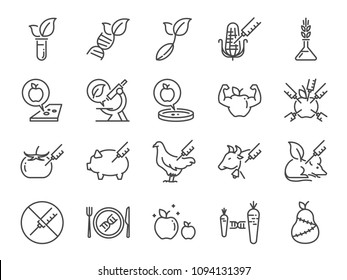 GMOs icon set. Included the icons as Genetically Modified Organisms, science, genetics, improve, biotechnology, modified, agriculture and more.