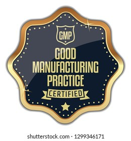GMP Certified Badge. Good Manufacturing Practice. Vector Golden Label.