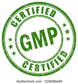 Gmp certified vector stamp isolated on white background
