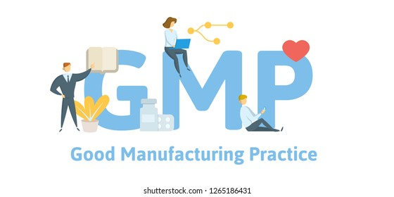GMP, Good Manufacturing Practice. Concept with keywords, letters and icons. Colored flat vector illustration. Isolated on white background.