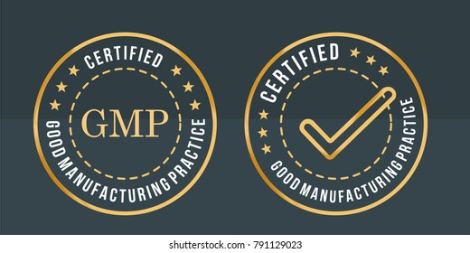 GMP, Good Manufacturing Practice stamp label on black and gold round sticker vector illustration