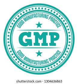 GMP. Good Manufacturing Practice. Vector Rubber Stamp.