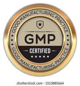 GMP. Good Manufacturing Practice. Vector Golden Badge.