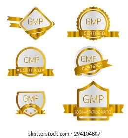 gmp on gold label, good manufaturing practice, vector, illustration