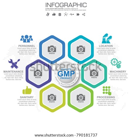 Gmp Good Manufacturing Practice 6 Heading Infographic Stock Vector