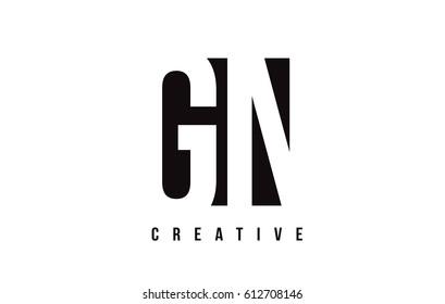 GN G N White Letter Logo Design with Black Square Vector Illustration Template.