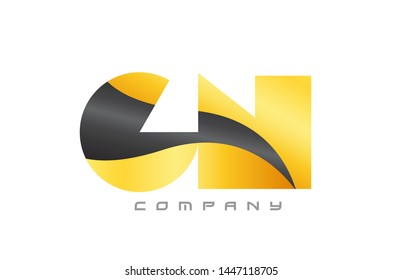 GN G N yellow black alphabet combination letter logo design suitable for a company or business