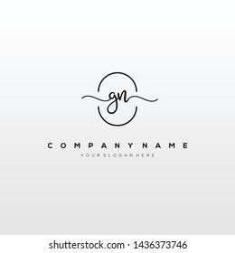 GN handwriting initial logo template vector.