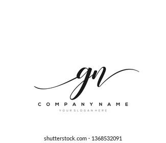 GN handwriting initial  logo vector