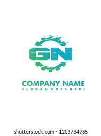GN Initial with gear template vector
