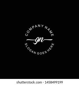 GN Initial handwriting logo template vector
