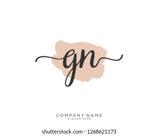 GN Initial handwriting logo vector