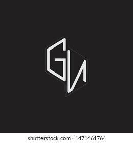 GN Initial Letters logo monogram with up to down style isolated on black background