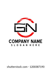 GN Initial logo with circle template vector