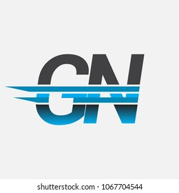 GN initial logo company name colored black and blue, Simple and Modern Logo Design.