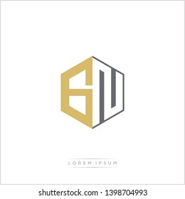 GN Logo Initial Monogram Negative Space Design Template With Gold and Grey Color - Vector EPS 10