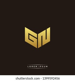 GN Logo Letter Initial Logo Designs Templete with Gold and Black Background