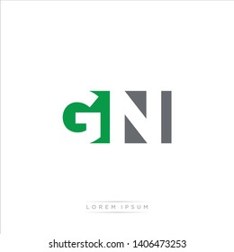 GN Logo Letter with Modern Negative space - Green and Grey Color EPS 10