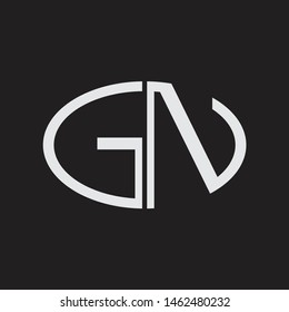 GN Logo letter oval monogram design template with black and white colors