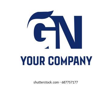 GN Negative Space Square Swoosh Letter Logo