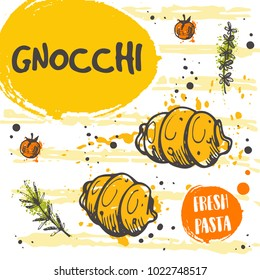 Gnocchi pasta card concept design. Italian cuisine. Hand drawn doodle vector illustration. Can be used for menu, cafe, restaurant, bar, shop, poster, food studio, emblem, banner, sticker.