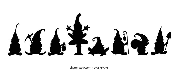Gnome, Dwarf, Elf Silhouette Illustration